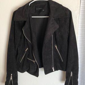Olivaceous black suede jacket size M